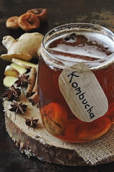 Healthy fermented drink kombucha