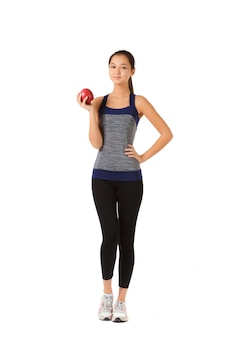 Healthy fitness woman isolated