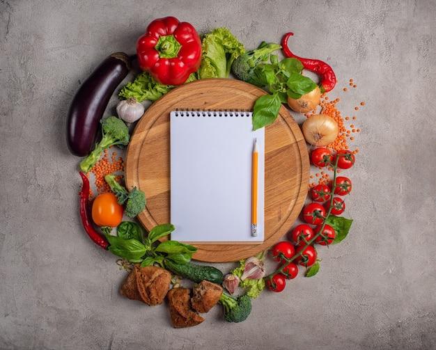 위에서 촬영 한 야채 건강 식품 배경