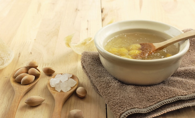 Healthy food - bowl of swallow nest clear soup and ginkgo seeds
