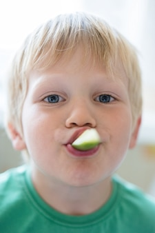 Healthy food for children - portrait of a small boy with a fresh cucumber in his mouth