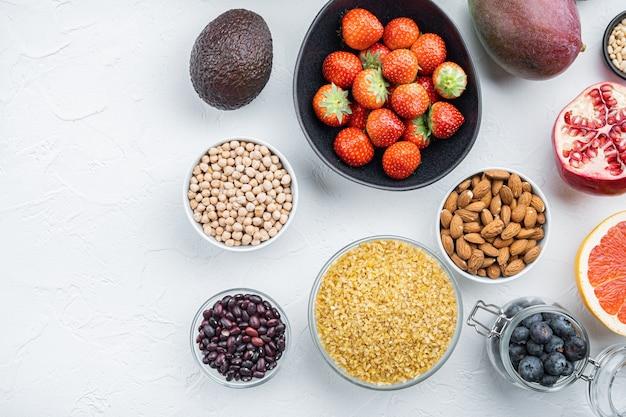 건강 식품 깨끗 한 선택, 상위 뷰, 흰색 테이블에.