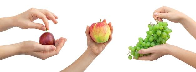 Коллаж здорового питания, слива, яблоко и зеленый виноград в руках женщины, изолированные на белом фоне фото, баннер