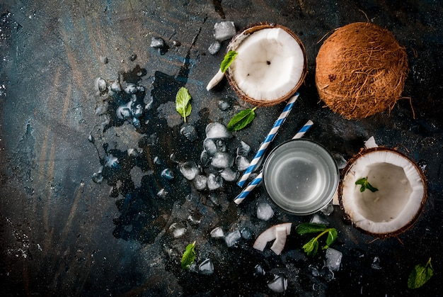 Healthy food concept.  fresh organic coconut water with coconuts