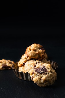 Healthy food concept homemade trail mix organic whole grains energy and chocolate chips cookies