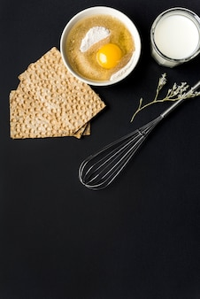 Healthy food concept with eggs and crackers