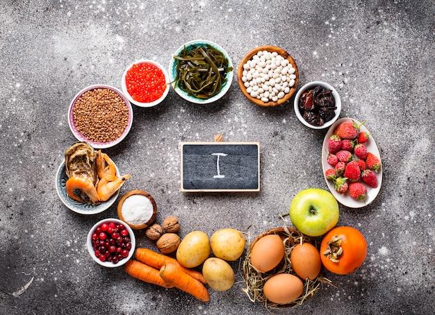 Здоровая пища, содержащая йод.