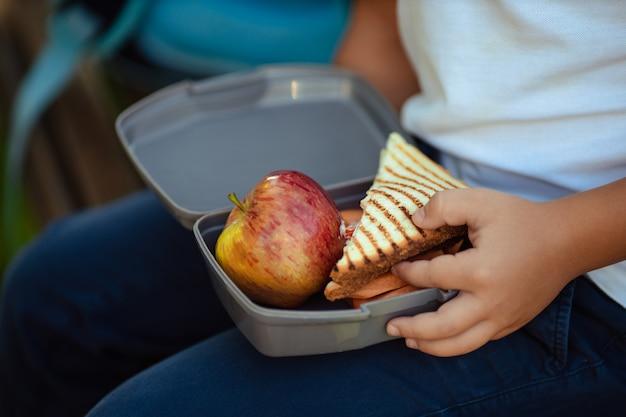 学生のための健康食品。かわいい男の子が学校の近くに屋外の果物を食べています。