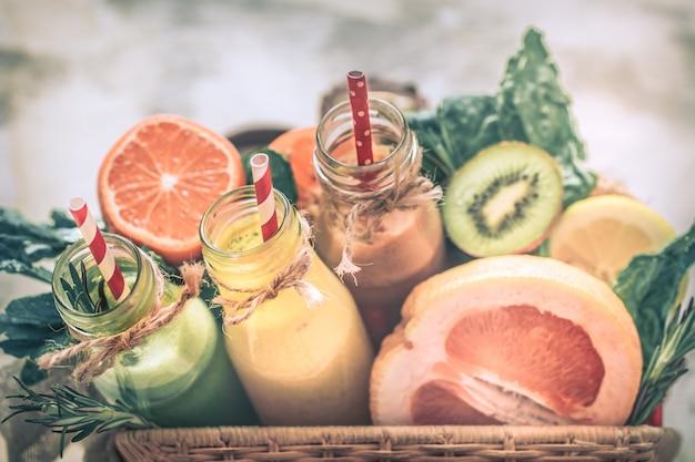 Healthy food fresh juice and fruit