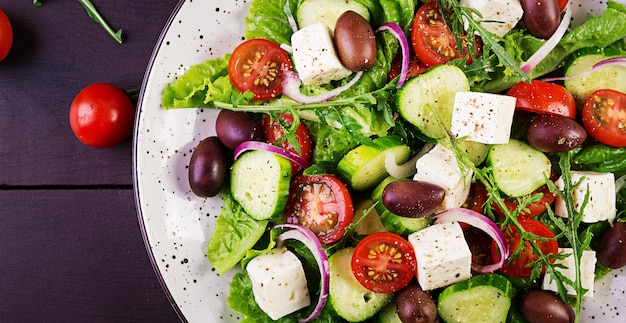 Healthy food. greek salad with fresh vegetables