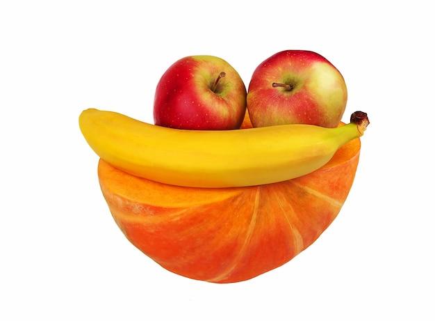 健康食品。健康的なライフスタイルのコンセプト。カボチャ、リンゴ、バナナなどの果物を含むダイエット健康食品。