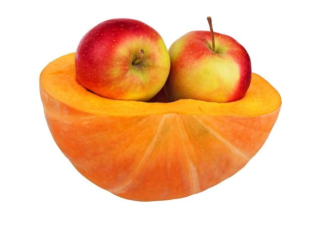 健康食品。健康的なライフスタイルのコンセプト。カボチャ、リンゴなどの果物を含むダイエット健康食品。