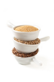 Healthy food ingredents 3 kind of gluten free grains flax