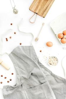 Ингредиенты здоровой пищи. концепция приготовления пищи. плоская планировка, вид сверху