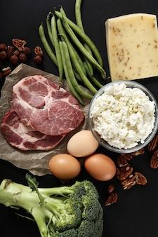 黒いテーブルの健康食品成分