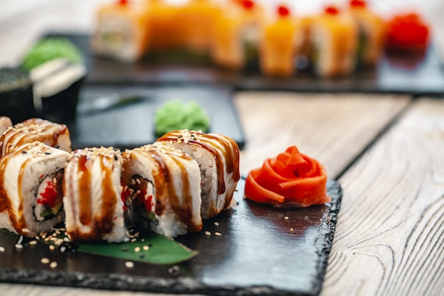 Healthy food. japanese restaurant. sushi roll