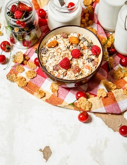 Healthy food. muesli with forest wild berries on rustic table.