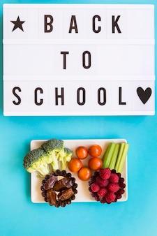 Healthy food near back to school inscription