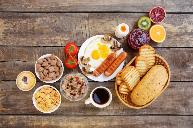 Healthy food on old wooden background
