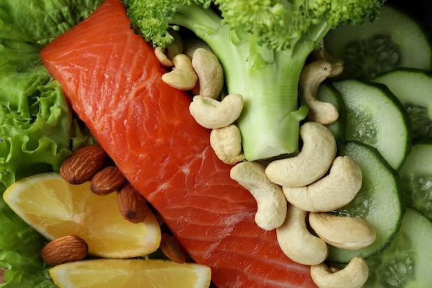 Здоровая пища на всем фоне, крупным планом