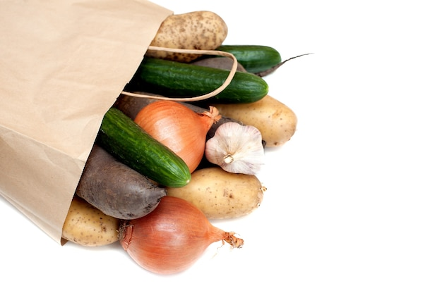 Healthy food paper bag on a white
