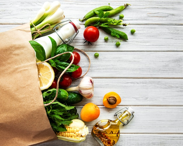 Healthy  food in the paper bag