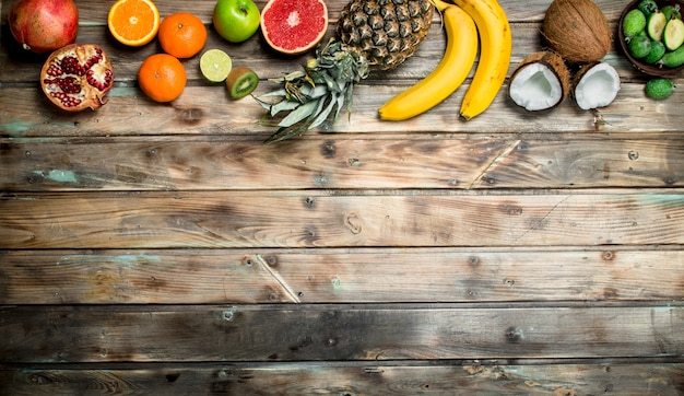 Healthy food. ripe organic fruit on wooden table.