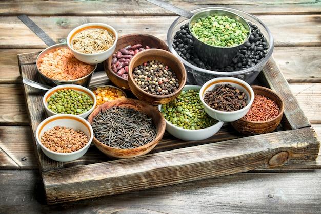 건강한 음식. 다양한 콩과 식물. 나무에.