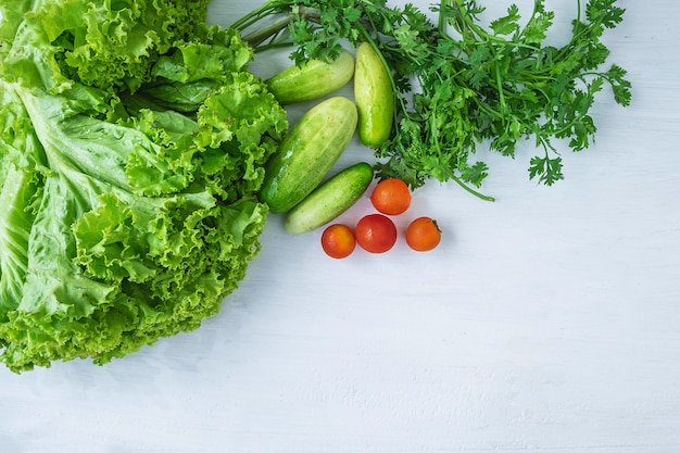 Healthy food. vegetables  on a white  wooden background