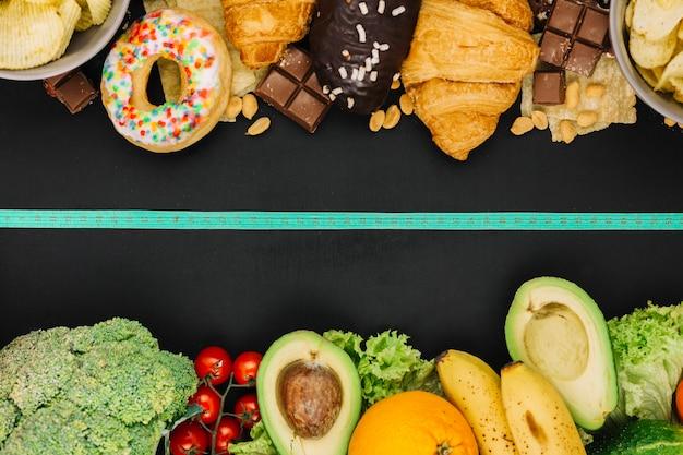 건강에 좋은 음식 대 건강에 해로운 음식