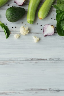 Healthy food on white wooden table mock up
