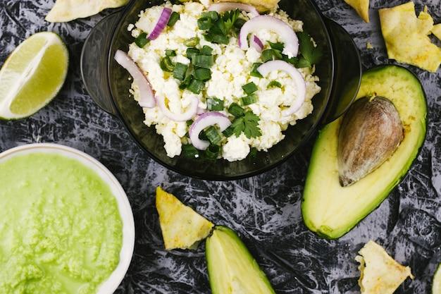 Healthy food with avocado and guacamole