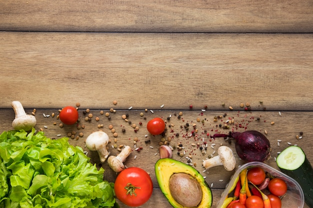 Healthy food with copy space on wooden background