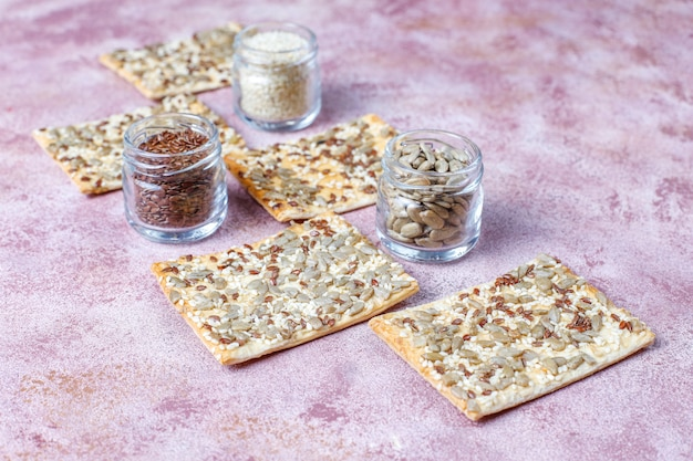 Healthy fresh baked gluten free crackers with seeds