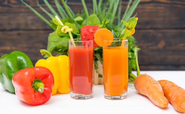 Healthy fresh vegetable smoothies with mixed herbs