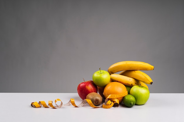 Healthy fruit assortment with copy space
