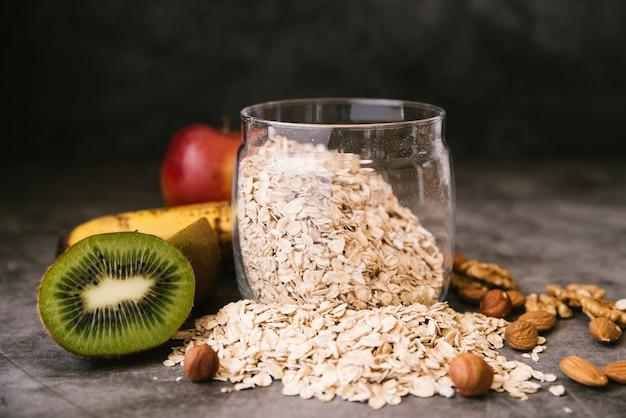 Healthy fruit and oats breakfast