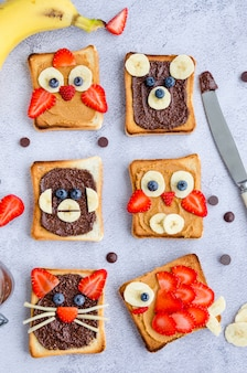 Healthy funny face sandwiches for kids. animal faces toast with peanut and hazelnat chocolate butter, banana, strawberry and blueberry. vertical orientation. close up. top view.