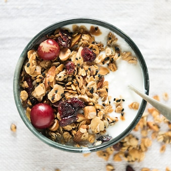 Healthy granola food photography recipe idea