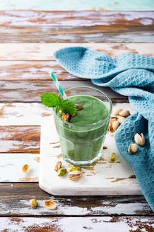 Healthy green pistachios smoothie