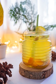 Healthy herbal drink. herbal drink made from turmeric, ginger, lemongrass, and lemon. minimalist concept idea for herbal drinks