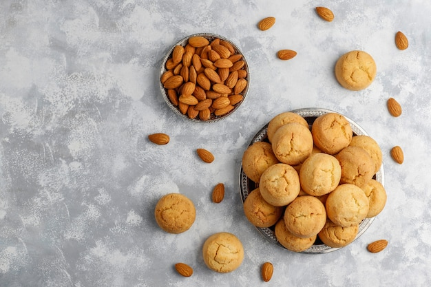 Healthy homemade almond cookies on concrete ,top view