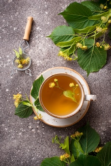 Healthy hot linden tea in cup