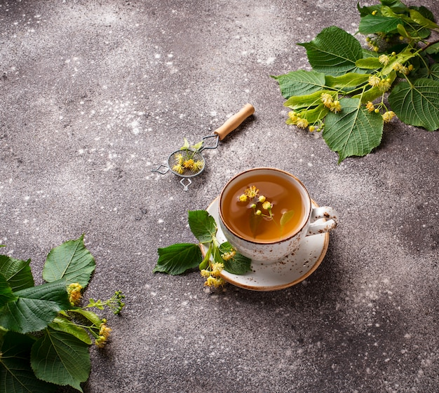 Healthy hot linden tea in cup