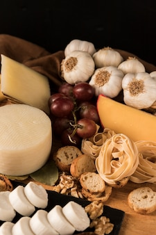 Healthy ingredient with various cheese and walnut