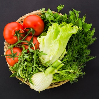Healthy ingredients included in a salad
