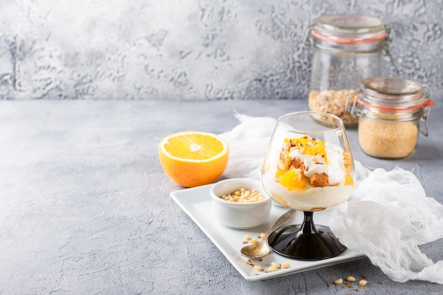Healthy layered dessert trifle