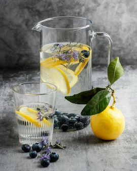 Healthy lemonade in glass arrangement