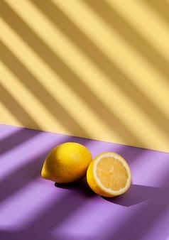 Healthy lemons arrangement high angle