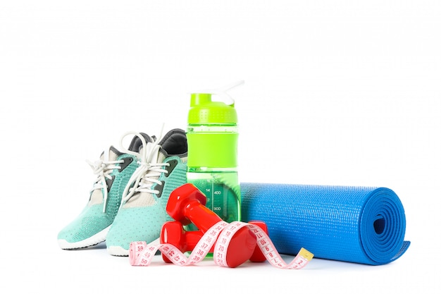 Healthy lifestyle accessories isolated on white
